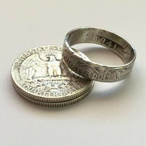 90% SILVER Quarter Coin Ring 1941 Vintage Gothic